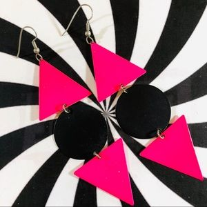 Vintage 80's New Wave geometric dangle earrings